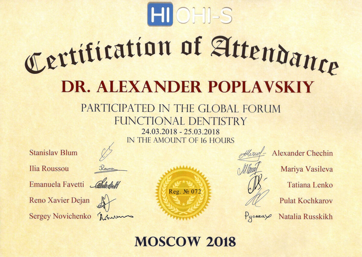 Certification of Attendance - Participated in the Global Forum Functional Dentistry, 2018